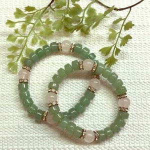 Pink and green jade bracelets